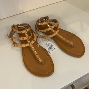 """Mossimo"" Tan Sandals With Gold Studs Gladiator"